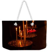 Lit Candles In A Church Weekender Tote Bag