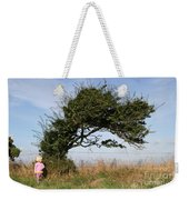 Little Girl And Wind-blown Tree Weekender Tote Bag