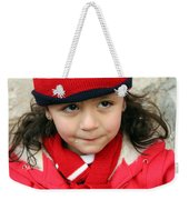 Little Girl In Red Weekender Tote Bag