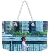 Little Girl On Scooter By Manhattan Skyline Weekender Tote Bag
