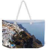 Living On The Edge In Santorini Weekender Tote Bag
