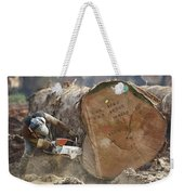 Logger Cutting Trunk Of Rainforest Weekender Tote Bag