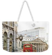 London Street With View Of Royal Exchange Building Weekender Tote Bag