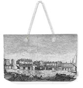 London: Waterfront, 1750. /nlondon Bridge And Dyers Wharf. Wood Engraving After A Painting By S. Scott, C1750 Weekender Tote Bag