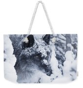 Lone Wolf In Snow Weekender Tote Bag