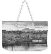 Longs Peak And Mt Meeker Sunrise At Golden Ponds Bw  Weekender Tote Bag