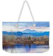 Longs Peak And Mt Meeker Sunrise At Golden Ponds Weekender Tote Bag