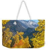 Long's Peak And The Keyboard Of The Winds Amidst Aspen Gold Weekender Tote Bag by Margaret Bobb