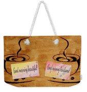 Love Morning Coffee Weekender Tote Bag