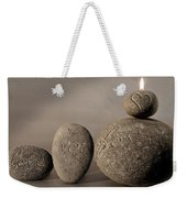 love you forever - An engraved message gives light to a stone heart Weekender Tote Bag
