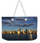Lower Manhattan At Sunset, Viewed From Weekender Tote Bag