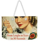 Luckys Cigarette Ad, 1938 Weekender Tote Bag by Granger
