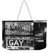 Lunch Time Between Fashion Ave And Gay St In Black And White Weekender Tote Bag by Rob Hans