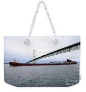 Mackinac Bridge With Ship Weekender Tote Bag
