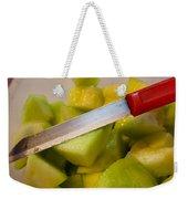 Macro Photo Of Knife Over Bowl Of Cut Musk Melon Weekender Tote Bag
