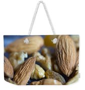 Macro Shots Of Various Dry Fruit Items Such As Almonds And Walnuts And Raisins Weekender Tote Bag