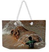 Bathing An Elephant Laos Weekender Tote Bag
