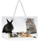 Maine Coon Kitten And Black Rabbit Weekender Tote Bag