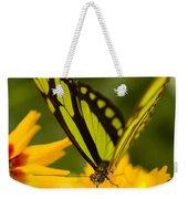 Malachite Butterfly On Flower Weekender Tote Bag