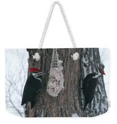 Male And Female Pileated Woodpeckers Weekender Tote Bag