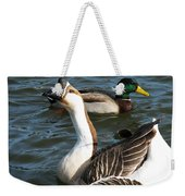 Mallard And Chinese Swan Goose - Anser Cygnoides - Featured In Wildlife Group Weekender Tote Bag