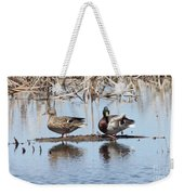 Mallard Ducks Sitting On A Sandbar  Weekender Tote Bag