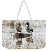 Mallard Ducks Standing On A Rock Weekender Tote Bag