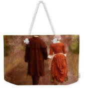 Man And Woman In 18th Century Clothing Walking Weekender Tote Bag
