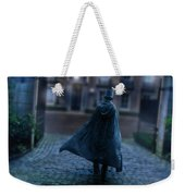 Man In Top Hat And Cape On Cobblestone Street Weekender Tote Bag