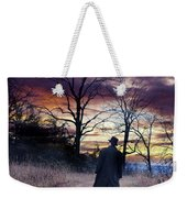 Man In Top Hat With Cane Walking Weekender Tote Bag