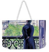 Man On A Balcony On Boulevard Haussmann Weekender Tote Bag