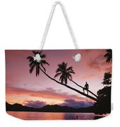 Man, Palm Trees, And Bather Silhouetted Weekender Tote Bag