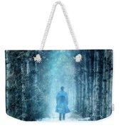 Man Walking Through Snowy Woods Weekender Tote Bag