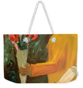 Man With Flowers  Weekender Tote Bag