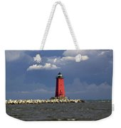 Manistique Lighthouse In Michigan's Upper Peninsula Weekender Tote Bag
