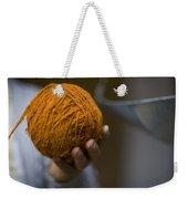 Mans Hand Holds Ball Of Orange Wool Weekender Tote Bag