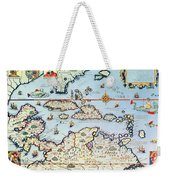 Map Of The Caribbean Islands And The American State Of Florida Weekender Tote Bag