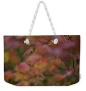 Maple Leaves Are Bright Red On A Rainy Weekender Tote Bag