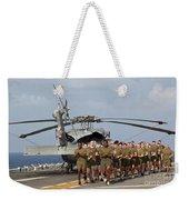 Marines And Sailors Run Aboard Uss Weekender Tote Bag