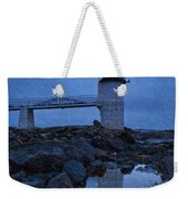 Marshall Point Lighthouse In Winter Storm. Weekender Tote Bag