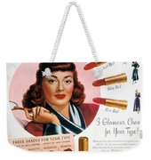 Max Factor Lipstick Ad Weekender Tote Bag