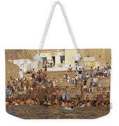 Men And Boys Bathe At An Ancient Ghat Weekender Tote Bag