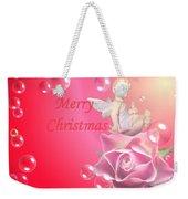 Merry Christmas Cherub And Rose Weekender Tote Bag