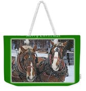 Merry Christmas Horses At Sawmill Weekender Tote Bag