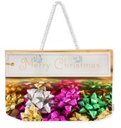 Merry Christmas Message With Colourful Bows Weekender Tote Bag