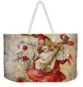 Merry Making Antique Girls In Red And White Grunge Weekender Tote Bag