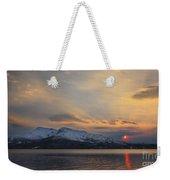 Midnight Sun Over Tjeldsundet Strait Weekender Tote Bag