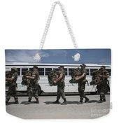 Midshipmen Carry Their Packs And Board Weekender Tote Bag