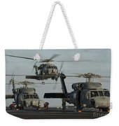 Military Helicopters Land On The Flight Weekender Tote Bag