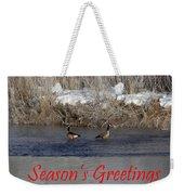 Mirrored Geese Season Greetings Weekender Tote Bag